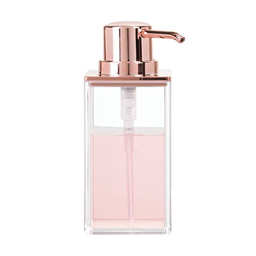 Price comparison product image iDesign 41388 Clarity Soap Pump for Kitchen,  Clear / Rose Gold,  6.4 x 9.5 x 15.4 cm