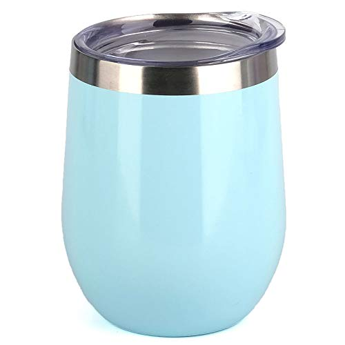 SUNWILL Insulated Wine Tumbler with Lid (Pearl Blue), Stemless...