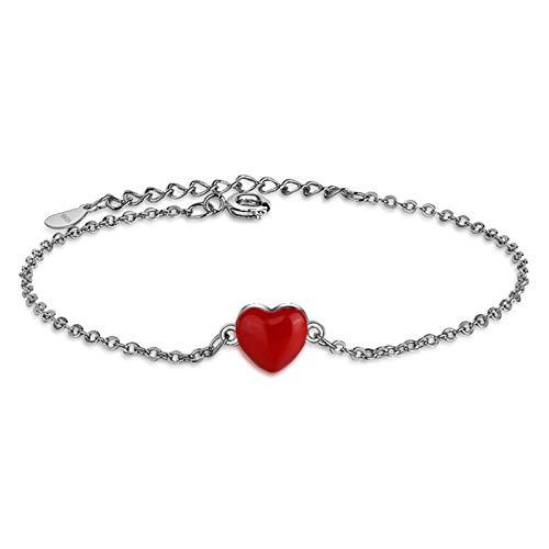 Wagrass Pulsera de lujo de plata de ley 925 con cadena de eslabones para mujeres y señoras con corazón de circonita cúbica, joyería fina de regalo para niñas