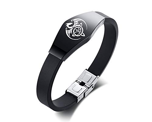 XUANPAI Bracelet with Hexagon-Shaped Celtic Dragon Silicone Rubber Bracelet Stainless Steel ID Tag Wristband for Men