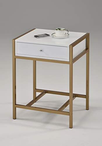 White and Gold Finish Nightstand Side End Table Bottom Shelf with Drawer