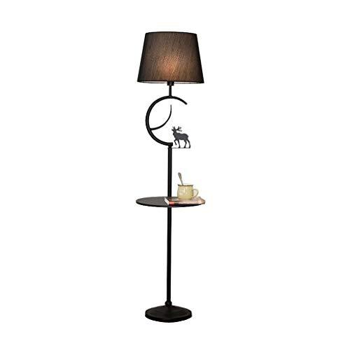 YLSH Duurzame staande lamp staande lamp Moderne eenvoudige vloerlamp slaapkamer woonkamer vloerlicht smeedijzeren stof lampenkap met houten salontafel staande lamp