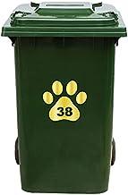 Kliko Sticker/Vuilnisbak Sticker - Hondenpoot - Nummer 38-18x16,5 - Goud