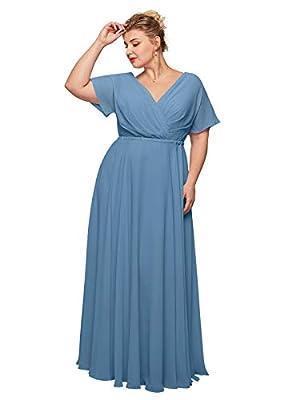 Alicepub Wrap V-Neck Dusty Blue Bridesmaid Dresses Chiffon Long Maxi Formal Dress for Women Party Evening Short Sleeves, US16