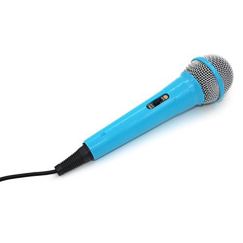 ZRAMO Professional Classic-Style Blue Color Kids Dynamic Microphone for Kids Singing Machine Microphone Unidirectional Dynamic Microphone with 10 Ft.