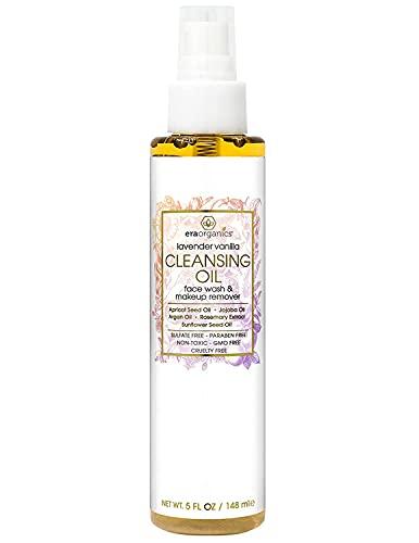 Era Organics Facial Cleansing Oil & Makeup Remover- Premium Plant Based Moisturizing Face Wash For Dry, Sensitive Skin With Anti Aging Organic Argan Oil, Apricot Oil, Jojoba Oil, Rosemary Extract 5oz