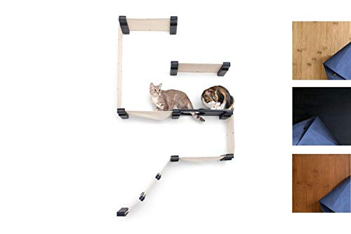 CatastrophiCreations Cat Fort Set - Multiple-Level Cat Hammock & Climbing Activity Center Wall-Mounted Cat Tree Shelves