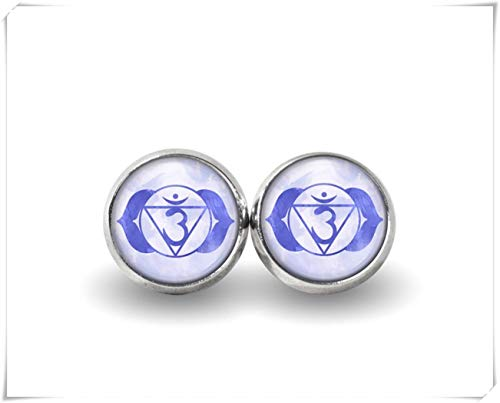 sea-maiden - Pendientes de Chakra de Tercer Ojo, joyería de Chakra, broches Bohemios, Pendientes de Yoga, joyería de Cristal cúpula, Hecho a Mano.