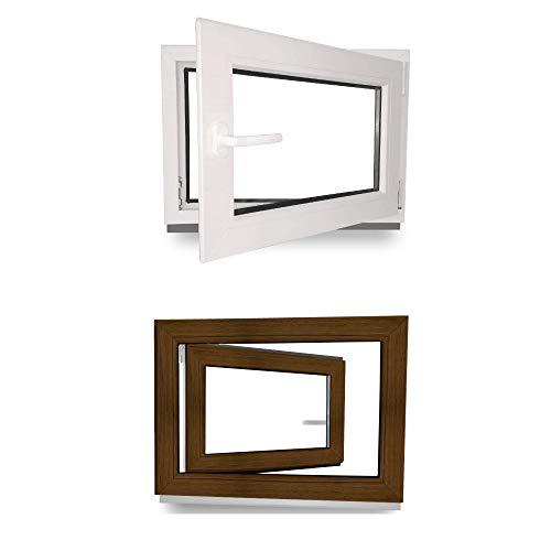 Kellerfenster - Kunststoff - Fenster - innen weiß/außen nussbaum - BxH: 80 x 40 cm - 800 x 400 mm - DIN Rechts - 3 fach Verglasung - 60 mm Profil