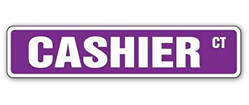 BCTS CASHIER - Señal de calle de cajero automático para tiendas de cash rester al aire libre, 4 x 16 pulgadas