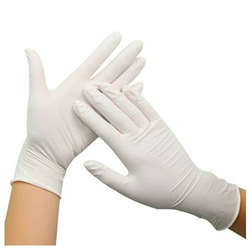50 Guanti Monouso, Protezione Da Virus, Protezione Batterica, Bianco, Guanti Monouso, Protezione In Lattice, Gomma, Protezione Mani In Plastica Per Uso Domestico Per L'industria Alimentare S