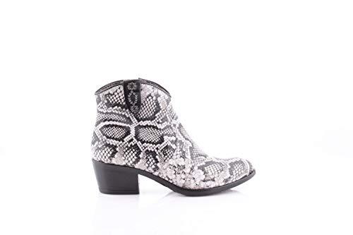 Mjus Dames Cowboy laarzen Dallas Nero Zwart Wit (41 EU)