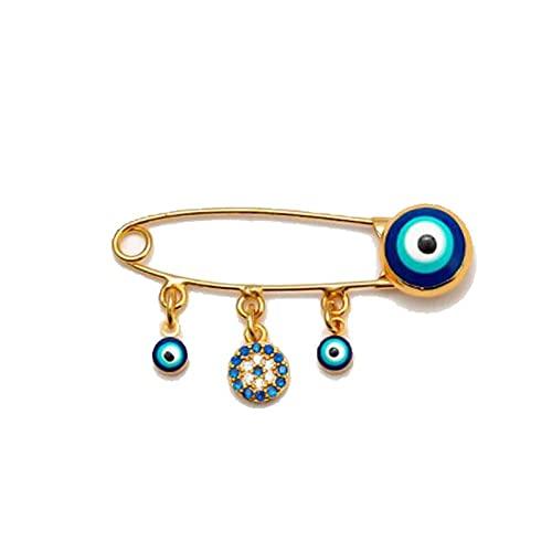 Broche de seguridad de ojo malvado de Turquía, broche azul de la suerte, broche de mano étnico con incrustaciones de circonitas, pequeño alfiler de solapa (color metálico: dorado)