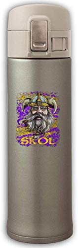 Skol Nordic Scandinavian Viking Warrior Stainless Steel Mug,Stainless Steel Thermos,Bouncing Cover Insulation Vacuum Cup