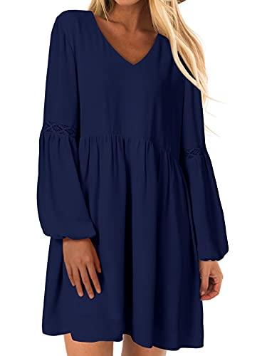 YOINS Sexy Kleid Damen Sommerkleid für Damen Babydoll Kleider Brautkleid Tshirt Kleid Rundhals Langarm Minikleid Langes Shirt Lose Tunika Strandkleid A-dunkelblau S