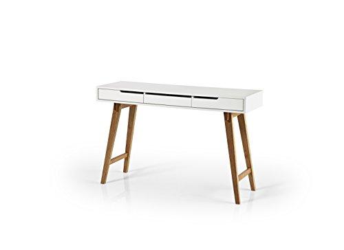 Robas Lund Schreibtisch Weiß Matt Gestell Massivholz Buche mit Schubladen, Anneke L BxHxT 120 x 78 x 40 cm