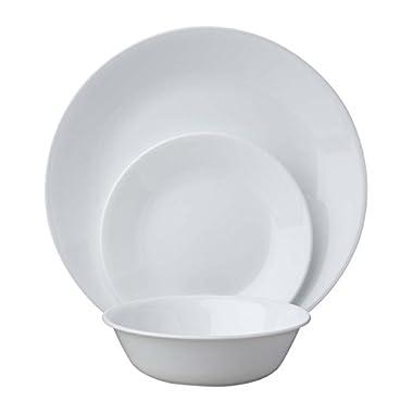 Corelle Livingware 18-Piece Dinnerware Set, Winter Frost White, Service for 6