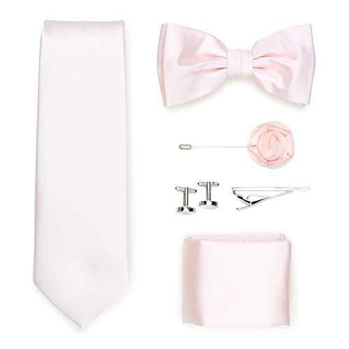 Puccini Exklusive Gentleman Geschenkbox mit Krawatte, Fliege, Einstecktuch, Krawattennadel, Manschettenknöpfe, Anstecknadel im klassischen Paisley-Muster (Rosa)