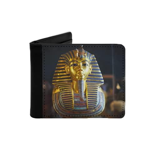 Cartera Delgada de Cuero para Hombre,Momia egipcia del faraón Dorado,Cartera Minimalista con...