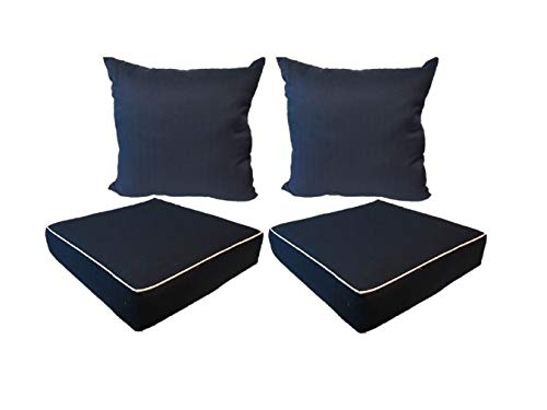 Suntastic Indoor/Outdoor Navy Textured 18-Inch Seat Cushion and Pillow Set, Set of 2 Backyard Cushions and 2 Pillows