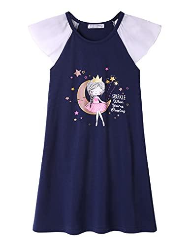 Arshiner Nachtkleider Kinder Baumwolle Einhorn nachtwäsche Sommer Nachthemden für Mädchen Nightdress for Girls Dunkelblau 150 152 146