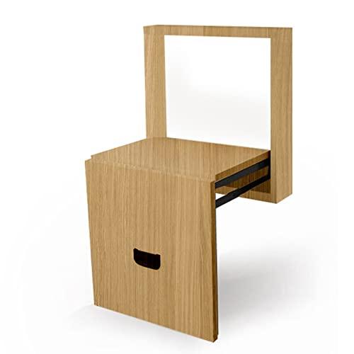 Folding chair Taburete para Cambiar Zapatos Plegable Invisible, Taburete De Pared para El Hogar Montado En La Pared, Zapatero En La Entrada, Silla Multifuncional (Color : Wood Color)