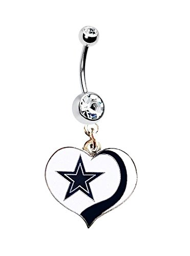 I LOVE COWBOYS FOOTBALL HEART TEAM Clear Navel Belly Button Ring Body Jewelry Piercing 14 Gauge