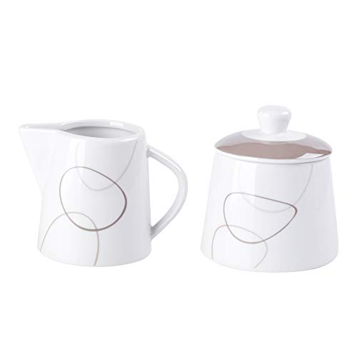 VEWEET, Serie 'Nikita' 2-teilig Porzellan Milchkännchen und Zuckerbehälter Set, 250 ml Zuckerdose mit eine Deckel, 180 ml Milchkännchen, Milch- und Zuckerset | Ergänzung zum Tafelservice 'Nikita'