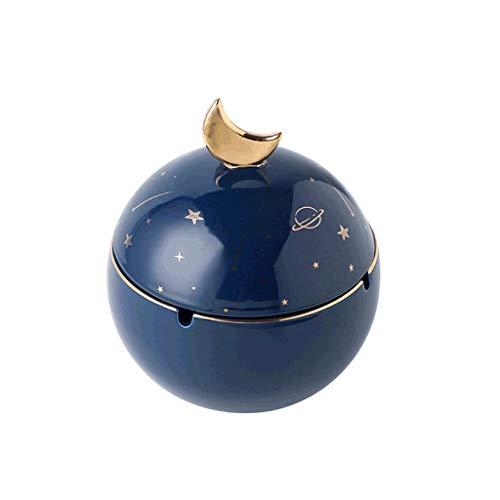 Agal Cenicero Cenicero cerámico esférico con Tapa de cenicero en Forma de Universo para Uso en Exteriores para Exteriores. Cenicero Interior (Color : Blue)