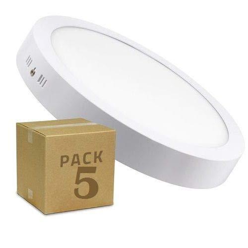 5x Plafón LED redondo, iluminación 18W (1600 lm), 4200K (luz neutra)
