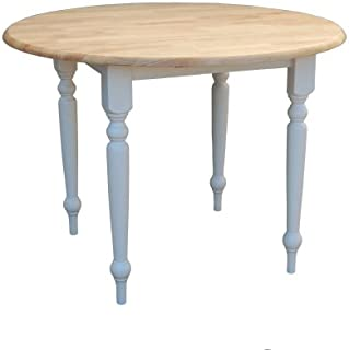 81619121542b Target Marketing Systems 40-Inch Round Drop Leaf Table with Turned Legs