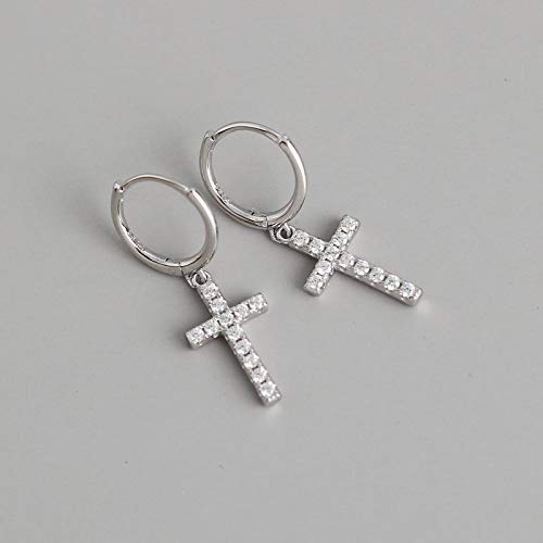Earrings For Women Silver,Vintage Cross Inlaid Clean Zirconia Goth Punk Hypoallergenic Hinged Earrings Fine Circle Endless Loop Jewelry For Lady Men Girls Marry Mother'S Day Valentine'S Gifts,Silver