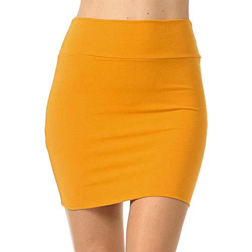 beautyjourney Falda lápiz Bodycon para Mujer Minifalda de Color Liso Falda de Negocios elástica de Cintura Alta Faldas Cortas Flacas básicas