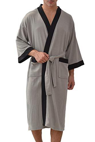 Besweeton Albornoz Hombre Ducha Waffle Bata de Baño Kimono Ropa De Dormir Camisón Ligero De Encaje SPA Hotel Gris M
