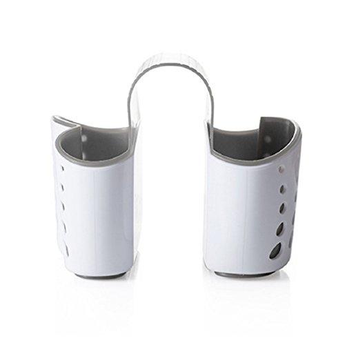 PU Ran évier de cuisine à suspendre Passoire Sac de rangement Serviette éponge Brosse de nettoyage de support Taille unique Dark Grey + White