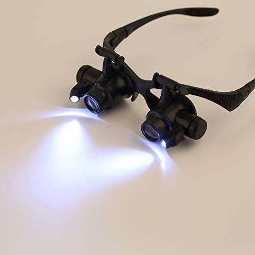 QINGJIA Iluminación LED Gafas Lupa de Aumento de luz con Doble Ojo 10X 15X 20X 25X joyeros reparación del Reloj de la Nave caída 2018 Lectura/Obeservación/Reparación