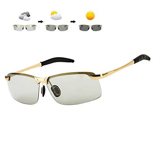 WHCREAT Occhiali da Sole Fotocromatici Al-Mg Polarizzati con Cerniere a Molla UV400 Lenti di Protezione Per Uomo