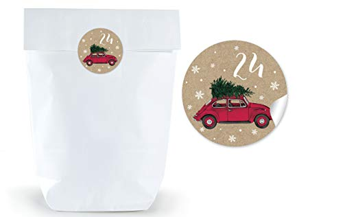Adventskalender papieren zak Kerstmis geschenktasje WIT 17 x 26 cm + Adventskalender 1-24 stickers Ø 4 cm kerstauto auto auto kever danne kraftpapier look