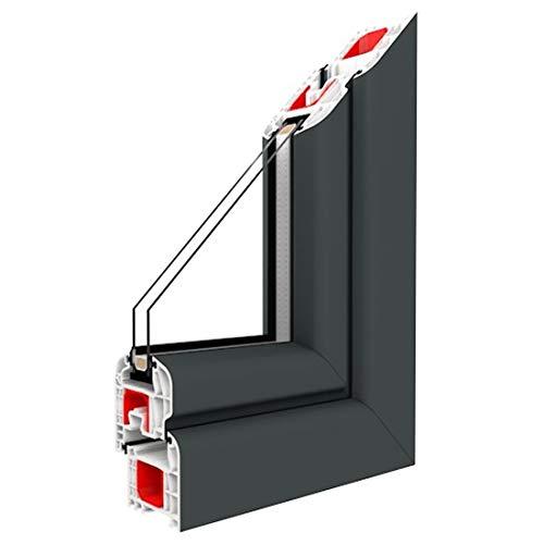 Festverglasung Fenster Schiefergrau Glatt beidseitig 1 flg. Fest im Rahmen, Glas:2-Fach, BxH:1400x700
