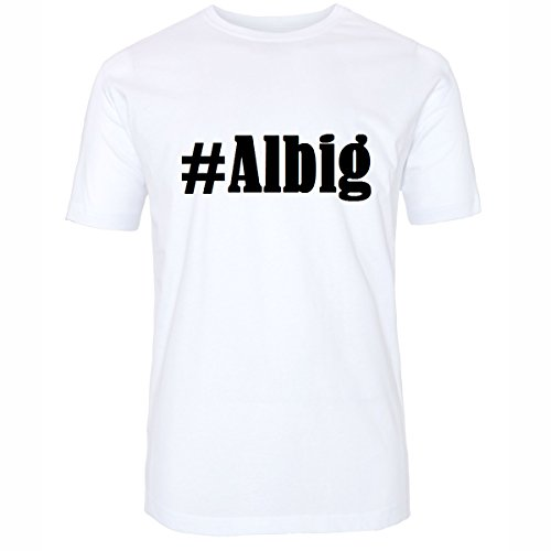 T-Shirt #Albig Größe 4XL Farbe Weiss Druck schwarz