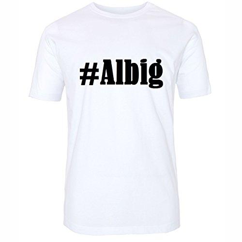 T-Shirt #Albig Größe 2XL Farbe Weiss Druck schwarz