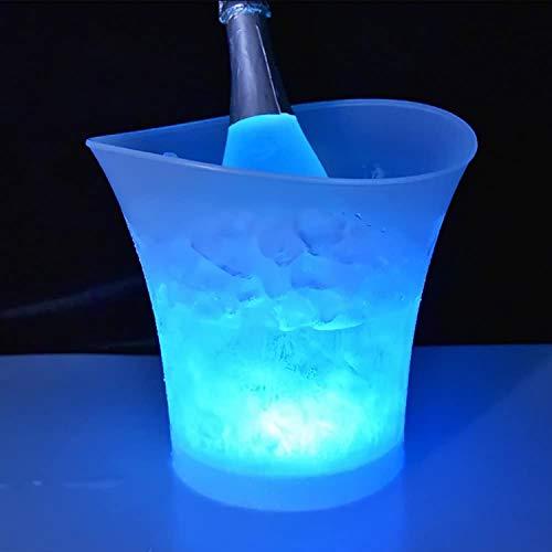 R&P 2 Piezas Cubo de Hielo LED Cambia gradualmente de Color Cubo de Champán Vino Cerveza Enfriador Usado para Boda Bar Fiesta(Baterías no Incluidas)