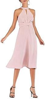 QGTDRESS Hanging Neck Laced Back Waist Zipper Mid-Length Dress, Size: M(Pink) (Color : Pink)