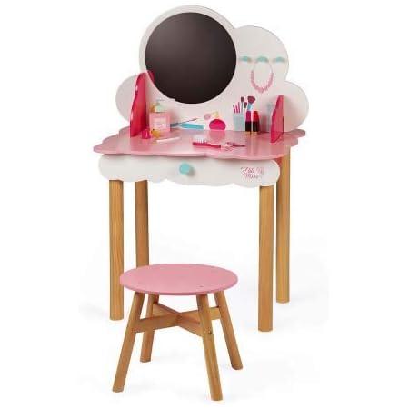 Janod- Dressing Table Tocador Pequeña Miss (madera), liso, Color rosa/blanco (Juratoys J06553)