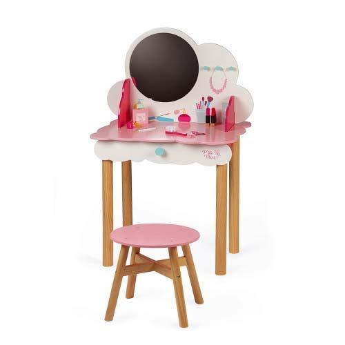 Janod- Dressing Table Tocador Pequeña Miss (madera), Color rosa/blanco (Juratoys J06553)