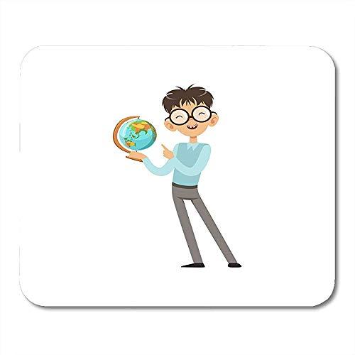 Mausepad Bunte Zeichentrickfigur Von Nerd Boy Mit Weltkugel In Der Hand Fröhliches Kind Blauer Pullover Und Graue Hosen Notebooks Desktop-Computer Bürobedarf Mauspad 25X30Cm