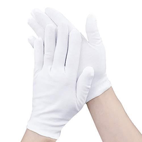 100 % weiße weiche Baumwolle, feuchtigkeitsspendende Handschuhe, Arbeitshandschuhe, Größe XL (12 Paar)