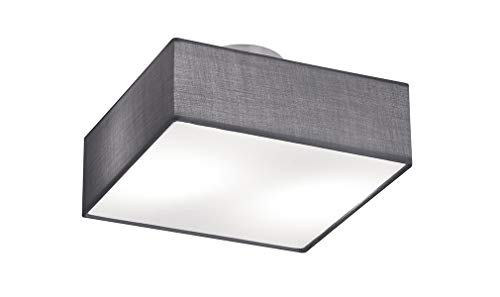 Trio Leuchten Deckenleuchte Embassy, nickel matt / stoffschirm grau, 603800287