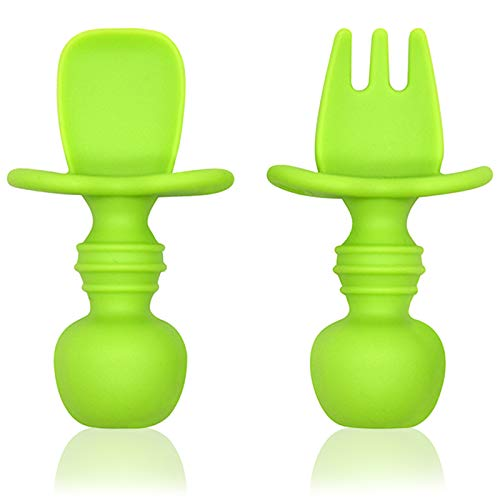 Baby First Self Feeding Spoon Fork Set, Infant Silicone Chewtensils...