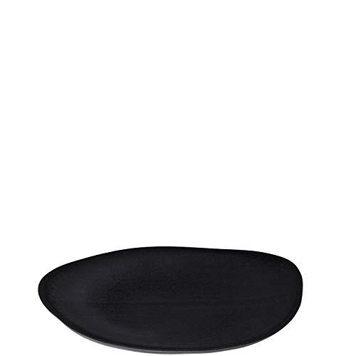 Leonardo Noli Essteller, 1 Stück, mikrowellengeeignet, spülmaschinengeeigneter Speise-Teller, schwarz, ovaler Steingut-Teller, 23,5 x 17 cm (BxT), 054637
